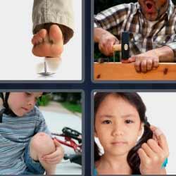 4 fotos 1 palabra martillo dando dedo